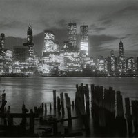 Manhattan Skyline at Night-New York City in Black and White, Photography Poster Print, 24 by 36-Inch