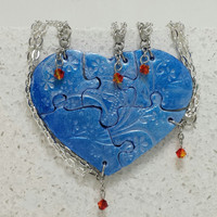 Heart Shaped Puzzle Necklaces Set of 5 Interlocking Necklaces Blue and Pearl with Swarovski Fire Opal Crystal