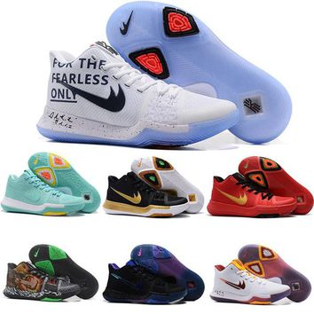 Newest Kyrie 3 Irving Glod Tie Dye Bhm Men Basketball Shoes Black Ice White Chrome Crossover Huarache Cavs Kyrie Irving 3s Sports Sneakers