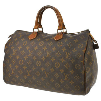 100% Authentic Louis Vuitton Vintage Monogram Speedy 35 Bag Hand Purse Boston leather tote, satchel Mini duffel, brown tan designer LV bag