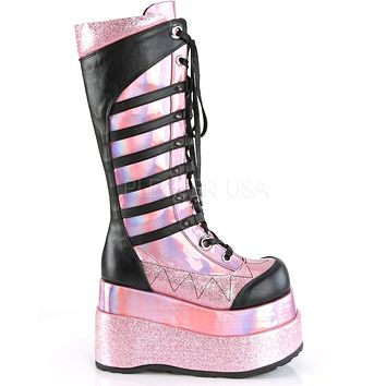 Pink Hologram Patent Vegan Leather Knee High Platform Boots
