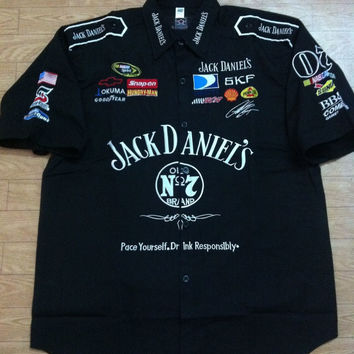 Embroidery Cotton F1 Short Sleeve Shirts for Jack Daniel's Motorcycle Rider Shirts,C176