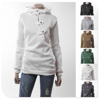 Top Quality Womens Fashion Cotton Loose Hedging Hooded Long Sweatshirt Long Sleeve Hoodies Big Size S-2XL = 1931748932