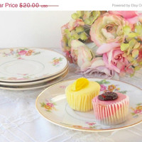 On Sale Vintage Pope Gosser Cottage Style Saucers, Set of 4, Shabby Chic, Tea Party, Wedding, Replacement China, Plates, Ca. 1940's