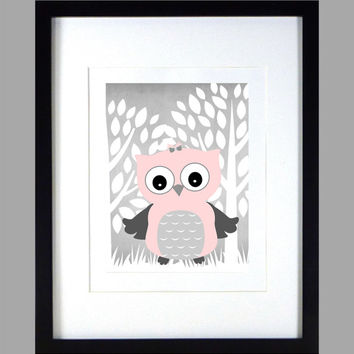 Pink Gray Owl Trees Print Nursery Decor Baby Print Bathroom Art CUSTOMIZE YOUR COLORS 8x10 Prints Nursery Decor Art Baby Room Decor Kids