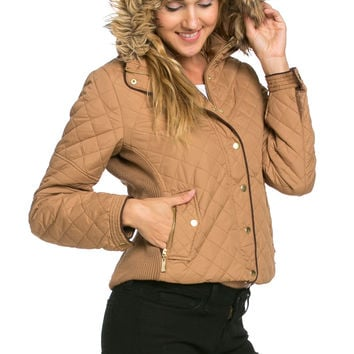 Quilted Padded Puffer Jacket with Faux Fur Hoodie Camel