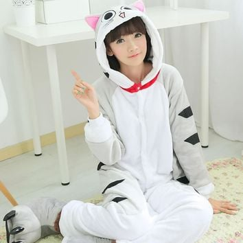 HKSNG Grey Cheese Cat Fleece Winter Cartoon Cheap DHL Footed Animal Adult Footie Pajamas Onesuits Cosplay Halloween Costumes