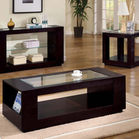 Coffee Table - Cappuccino Veneer With Glass Insert