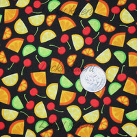 SALE/CLEARANCE Fruit on Black Fabric - Half Yard