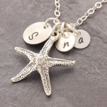 Starfish Mom Daughter Necklace, starfish necklace, handstamped necklace, custom mom necklace, mom and daughter, mothers necklace, N20