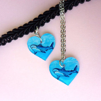 Tiger Shark Heart Charm Necklace/Choker