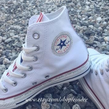 reconstructed converse chuck taylor high top with custom american flag design embellis