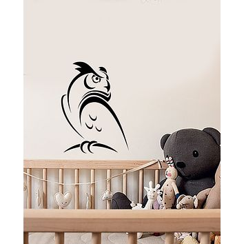 Vinyl Wall Decal Abstract Cartoon Owl Bird Decor For Kids Room Stickers (3717ig)