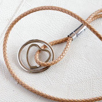 necklace , handmade lanyard keychain , leather braided natural , gifts , women's jewelry , lariat necklaces