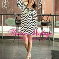 Zig Zag Bell Sleeve Dress