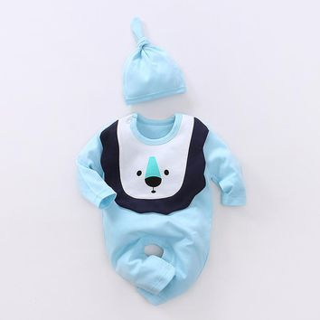 YiErYing  Baby Clothes Lovely Long Sleeve 100% Cotton Baby Rompers 2Pcs Hat+Romper Baby Boy Girl Jumpsuit Newborn Clothing Sets