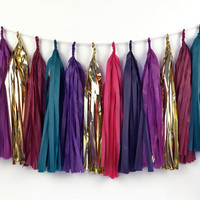Jewel Tassel Garland - Tissue Paper Tassel Garland - Purple, Navy, Teal, Pink, Gold - Party Decoration // Wedding Decor // Holiday Decor
