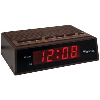 "Westclox(R) 22690 .6"" Retro Wood Grain LED Alarm Clock"