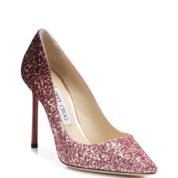 Jimmy Choo - Romy 100 Glitter Point Toe Pumps