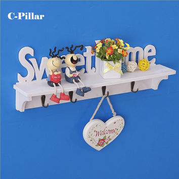 Sweet Home Wall Decorative Clothes Hook Rack Wall Mounted Carved Shelves Key Storage Hanging Holders Kitchen Organizer Perchero