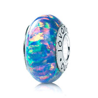 European  Bead  lab Blue Opal Charm  on sterling silver  by ARGINC