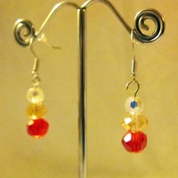 Red Crystals on Long Wires, Earrings | lovelythings - Jewelry on ArtFire