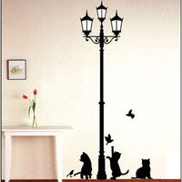 Lamp Post Decal w/Kittens & Butterflies
