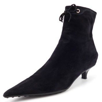 Car Shoe Womens Shoes Size 37.5, US 7.5 Suede Zip Up Booties Black