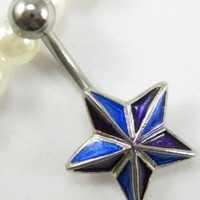 New Charming Dangle Crystal Navel Belly Ring Bling Barbell Button Ring Piercing Body Jewelry = 4804899844
