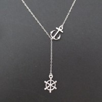 Sideways, Marie, Anchor, Ship, Wheel, Gold, Silver, Necklace