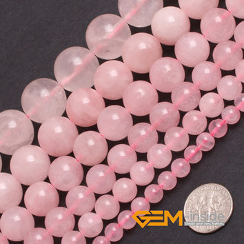 """Round And Smooth Rose Quartz Seed Beads Natural Rose Quartz Stone Beads DIY Beads For Bracelet Making Strand15"""" Free Shipping"""