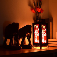 Red Bamboo Craft Paper Room Night Light Lantern House Light Furniture Decoration 11 inch High