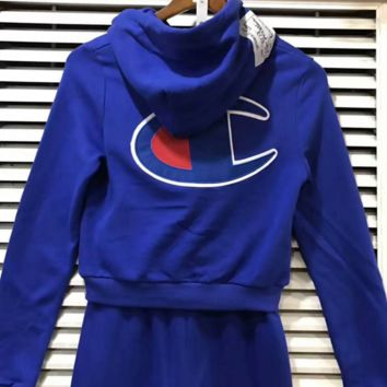 champion Fashion show thin hooded print two piece sweater Blue