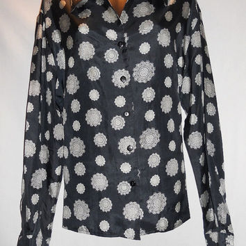 Vintage 80s Silk Black Asian Printed Blouse Long Sleeve Collared Button Up Studio A Size Large