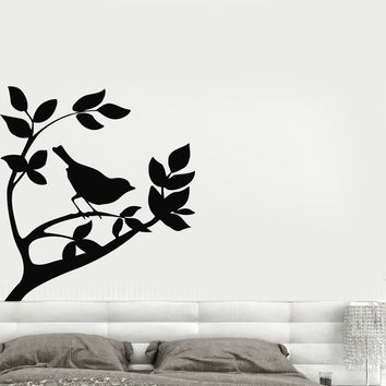 Vinyl Decal Wall Mural Sticker Bird on a Tree Branch Sparrow Nature Landscape Modern Home Decor Unique Gift (i004)