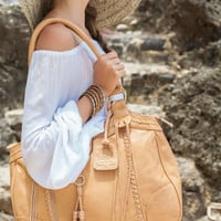 FREE SPIRIT. Tan leather tote bag / leather shoulder bag / boho leather bag / shoulder purse /bohemian. Available in different leather color