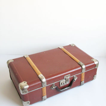 Vintage Small Leather Suitcase - Mid century Luggage #vintage#luggage#suitcase#midcentury