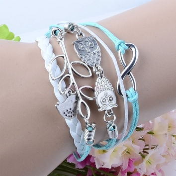 Branch/Leaf Owl Bird Wax Cord Synthetic Leather Braid  Wrap Bracelet Bangle 19100_B Necklace = 1645611652