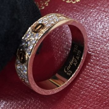 Cartier titanium steel rose gold three row diamond ring