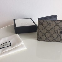 GUCCI Men's Wallet Bifold with COINS GG Guccissima Supreme Canvas NEW