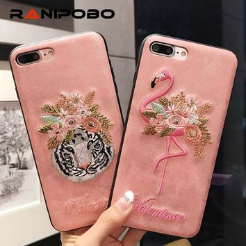Luxury Handmade Embroidery Flamingo pink style Phone Case For iPhone 6 6S Plus 7 7 Plus Leather Tiger Back Case Cover