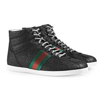 Gucci Men's Glitter Web High-Top Sneaker