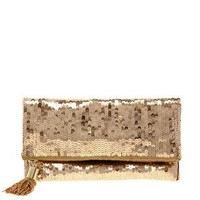 Foldover Sequin Clutch