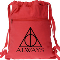 Always Harry Potter Backpack Deathly Hallows Red drawstring book bag