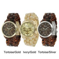 Geneva Platinum Women's Rhinestone Decorative Chronograph Link Watch | Overstock.com