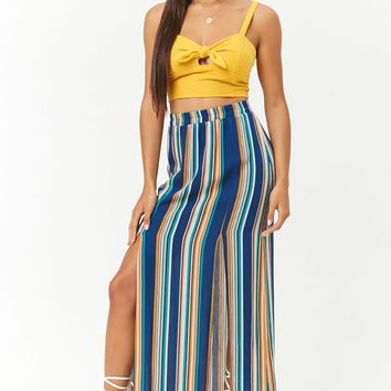 Multi-Striped M-Slit Maxi Skirt