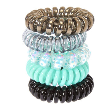 Mint Metallic Coiled Hair Ties