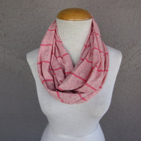 Pink Striped Infinity Scarf - Bubblegum Pink Circle Scarf - Striped Cowl
