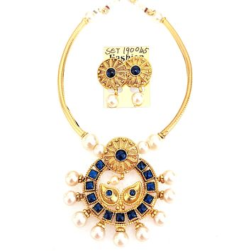Kemp stone Ramleela Pendant pipe Necklace and earring set