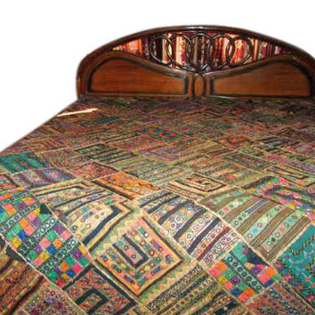 Bedspread- Kutch Embroidery Ethnic India Bedding Coverlet Tapestry Throw Christmas Home Decor